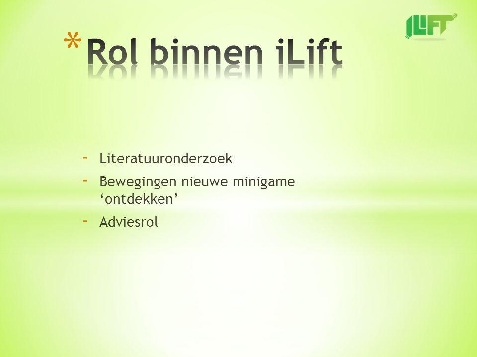 - Literatuuronderzoek - Bewegingen nieuwe minigame 'ontdekken' - Adviesrol