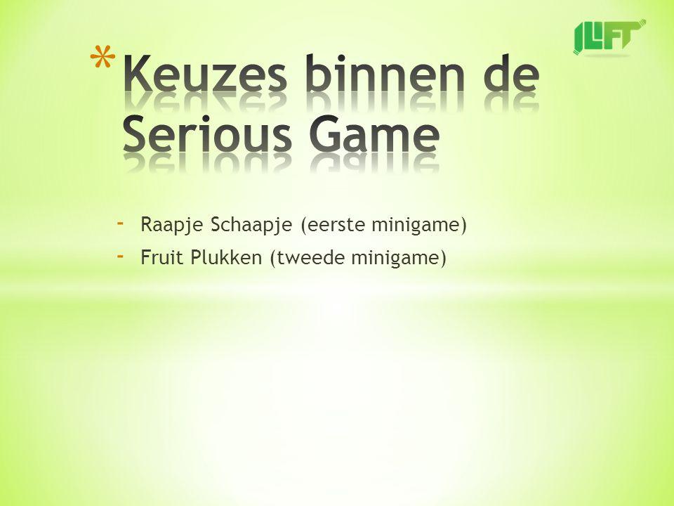 - Raapje Schaapje (eerste minigame) - Fruit Plukken (tweede minigame)