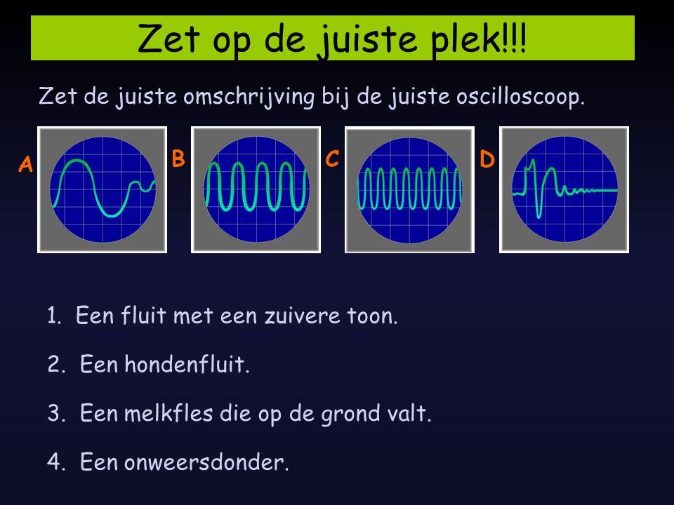 Zet op de juiste plek!!.Zet de juiste omschrijving bij de juiste oscilloscoop.