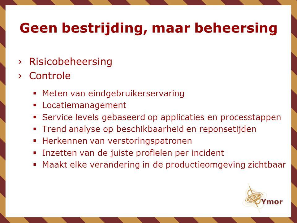 Geen bestrijding, maar beheersing ›Risicobeheersing ›Controle  Meten van eindgebruikerservaring  Locatiemanagement  Service levels gebaseerd op app