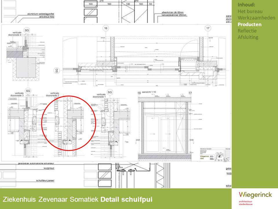 Ziekenhuis Zevenaar Somatiek Detail schuifpui Inhoud: Het bureau Werkzaamheden Producten Reflectie Afsluiting