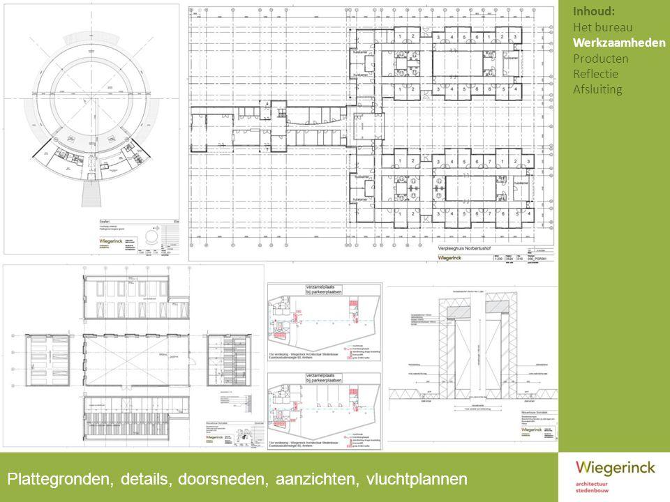 Plattegronden, details, doorsneden, aanzichten, vluchtplannen Inhoud: Het bureau Werkzaamheden Producten Reflectie Afsluiting