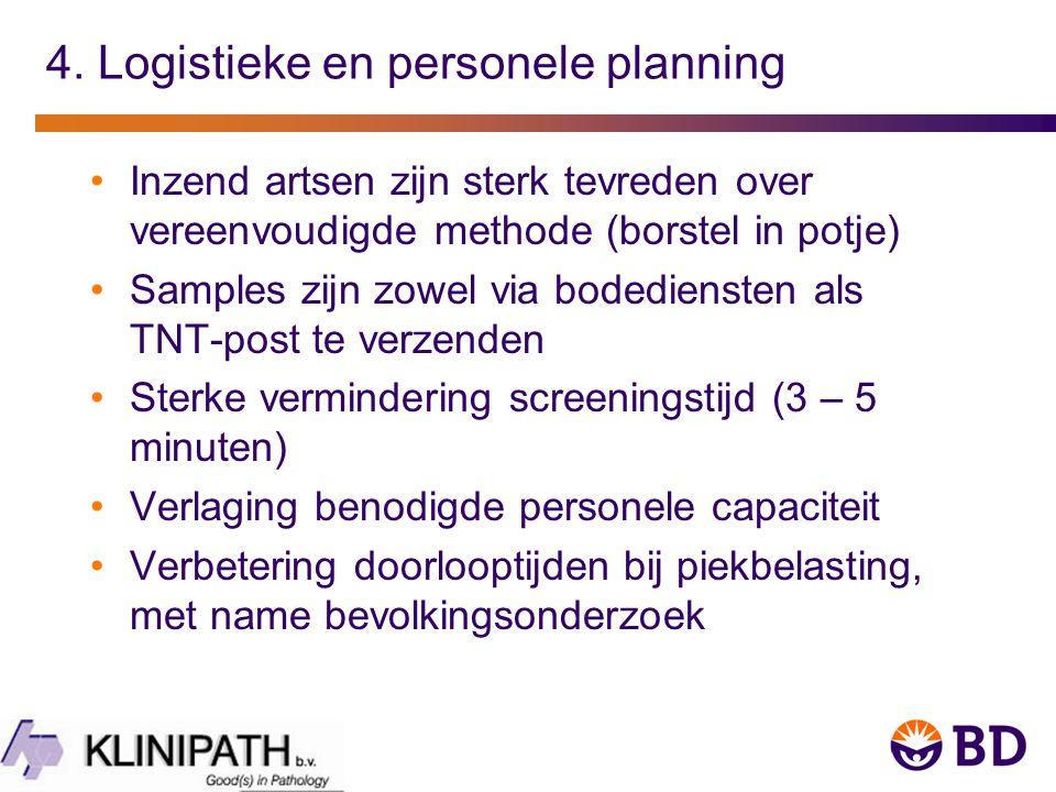 4. Logistieke en personele planning Inzend artsen zijn sterk tevreden over vereenvoudigde methode (borstel in potje) Samples zijn zowel via bodedienst