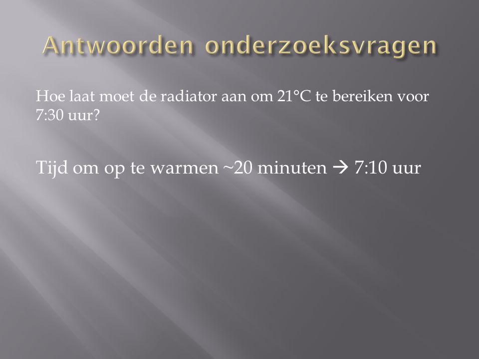 Hoe laat moet de radiator aan om 21°C te bereiken voor 7:30 uur? Tijd om op te warmen ~20 minuten  7:10 uur