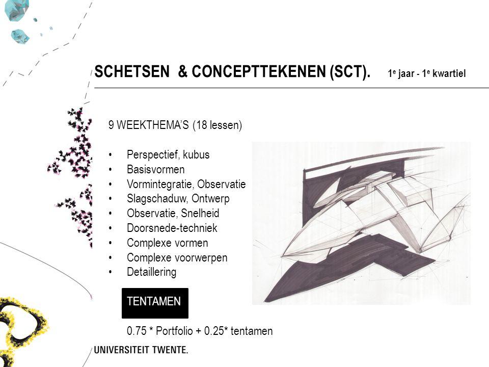 9 WEEKTHEMA'S (18 lessen) Perspectief, kubus Basisvormen Vormintegratie, Observatie Slagschaduw, Ontwerp Observatie, Snelheid Doorsnede-techniek Complexe vormen Complexe voorwerpen Detaillering TENTAMEN 0.75 * Portfolio + 0.25* tentamen SCHETSEN & CONCEPTTEKENEN (SCT).