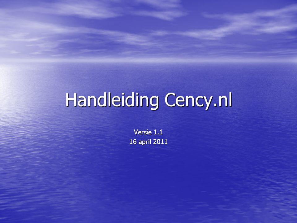 Handleiding Cency.nl Versie 1.1 16 april 2011