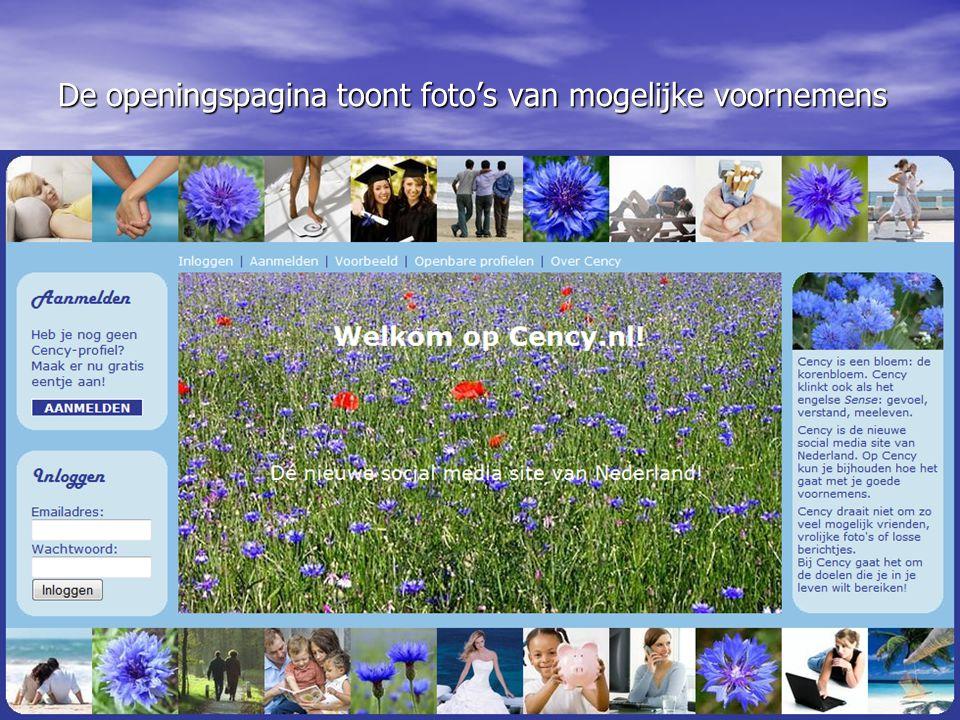 De openingspagina toont foto's van mogelijke voornemens