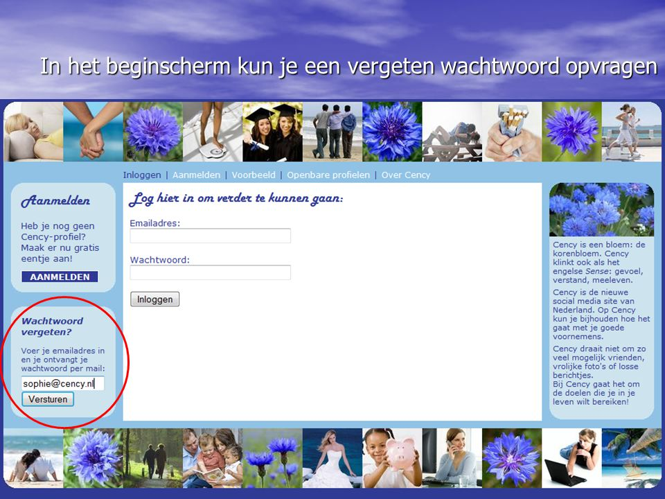 In het beginscherm kun je een vergeten wachtwoord opvragen