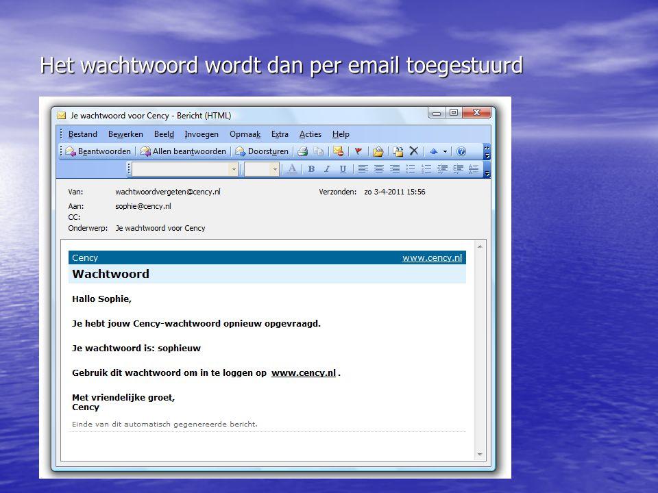 Het wachtwoord wordt dan per email toegestuurd