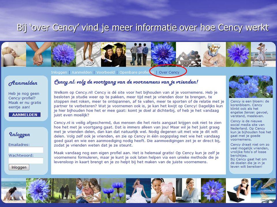Bij 'over Cency' vind je meer informatie over hoe Cency werkt