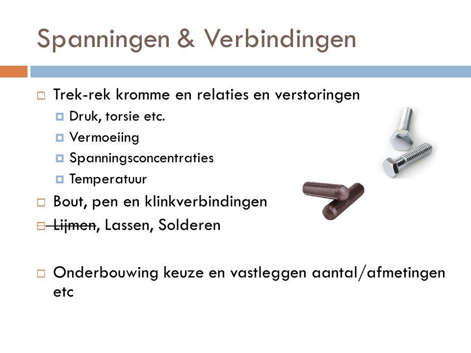 Spanningen & Verbindingen  Trek-rek kromme en relaties en verstoringen  Druk, torsie etc.  Vermoeiing  Spanningsconcentraties  Temperatuur  Bout