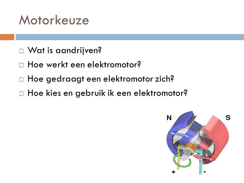Motorkeuze  Wat is aandrijven?  Hoe werkt een elektromotor?  Hoe gedraagt een elektromotor zich?  Hoe kies en gebruik ik een elektromotor?
