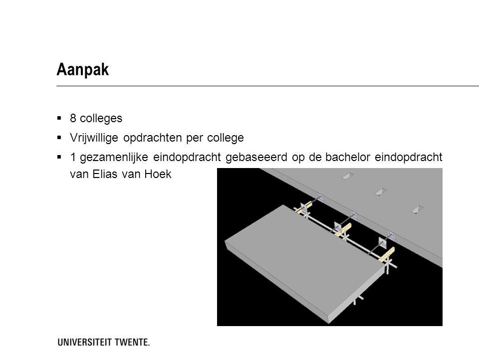 Aanpak  8 colleges  Vrijwillige opdrachten per college  1 gezamenlijke eindopdracht gebaseeerd op de bachelor eindopdracht van Elias van Hoek
