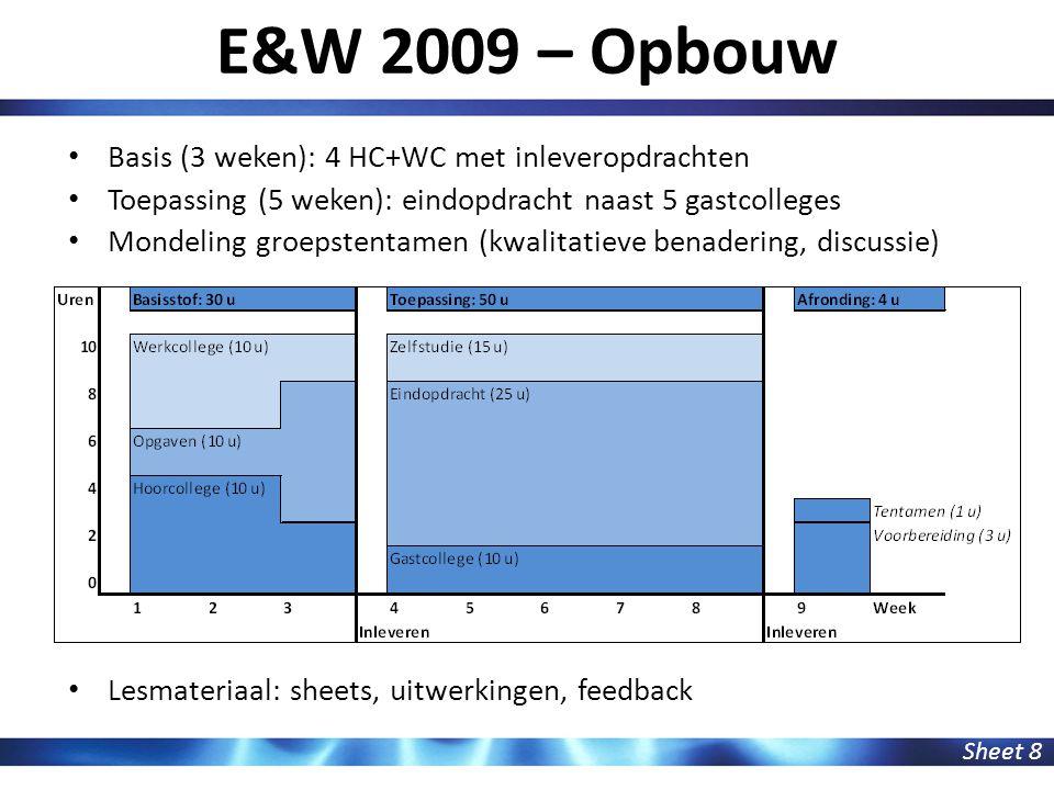 E&W 2009 – Opbouw Sheet 8 Basis (3 weken): 4 HC+WC met inleveropdrachten Toepassing (5 weken): eindopdracht naast 5 gastcolleges Mondeling groepstenta