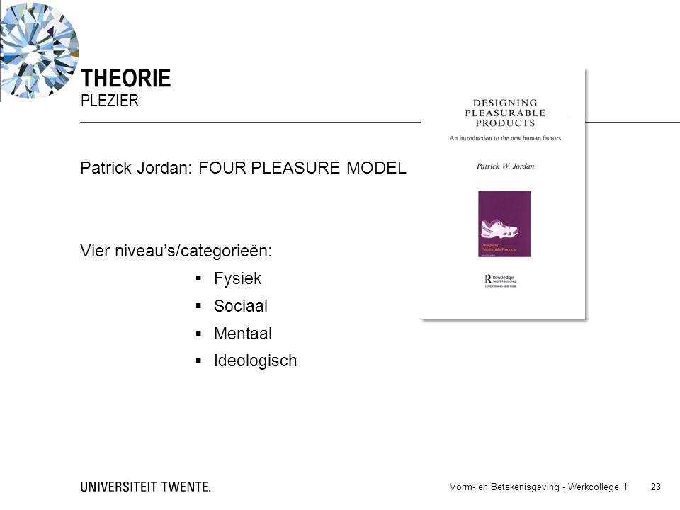 Patrick Jordan: FOUR PLEASURE MODEL Vier niveau's/categorieën:  Fysiek  Sociaal  Mentaal  Ideologisch Vorm- en Betekenisgeving - Werkcollege 1 23