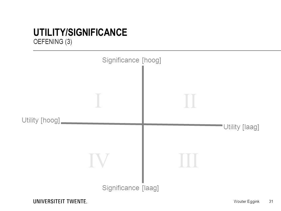 Wouter Eggink UTILITY/SIGNIFICANCE OEFENING (3) 31 Utility [hoog] Utility [laag] Significance [hoog] Significance [laag] I IV III II