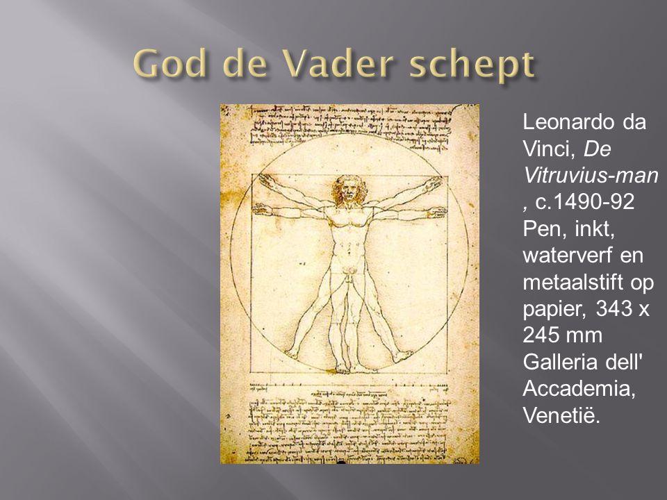 Leonardo da Vinci, De Vitruvius-man, c.1490-92 Pen, inkt, waterverf en metaalstift op papier, 343 x 245 mm Galleria dell Accademia, Venetië.
