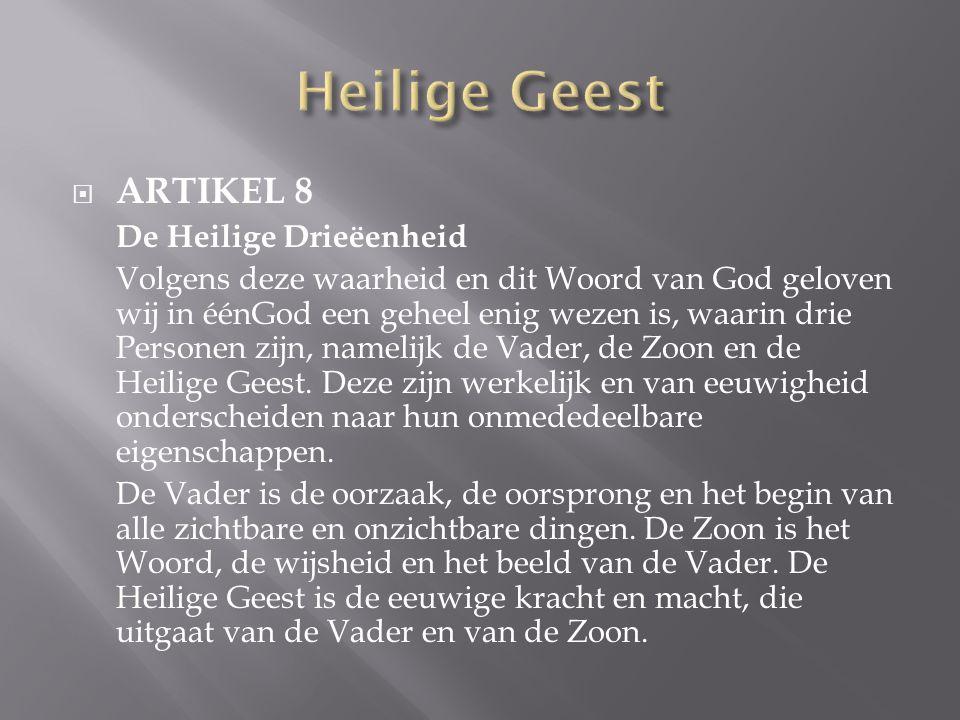  ARTIKEL 8 De Heilige Drieëenheid Volgens deze waarheid en dit Woord van God geloven wij in éénGod een geheel enig wezen is, waarin drie Personen zijn, namelijk de Vader, de Zoon en de Heilige Geest.
