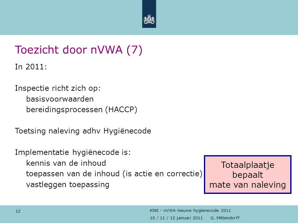 12 10 / 11 / 12 januari 2011 G. Mittendorff KNS - nVWA nieuwe hygienecode 2011 Toezicht door nVWA (7) In 2011: Inspectie richt zich op: basisvoorwaard