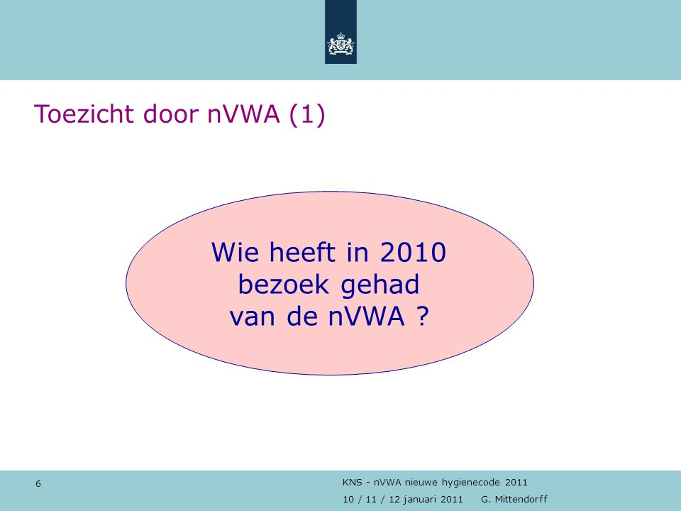 6 10 / 11 / 12 januari 2011 G. Mittendorff KNS - nVWA nieuwe hygienecode 2011 Toezicht door nVWA (1) Wie heeft in 2010 bezoek gehad van de nVWA ?