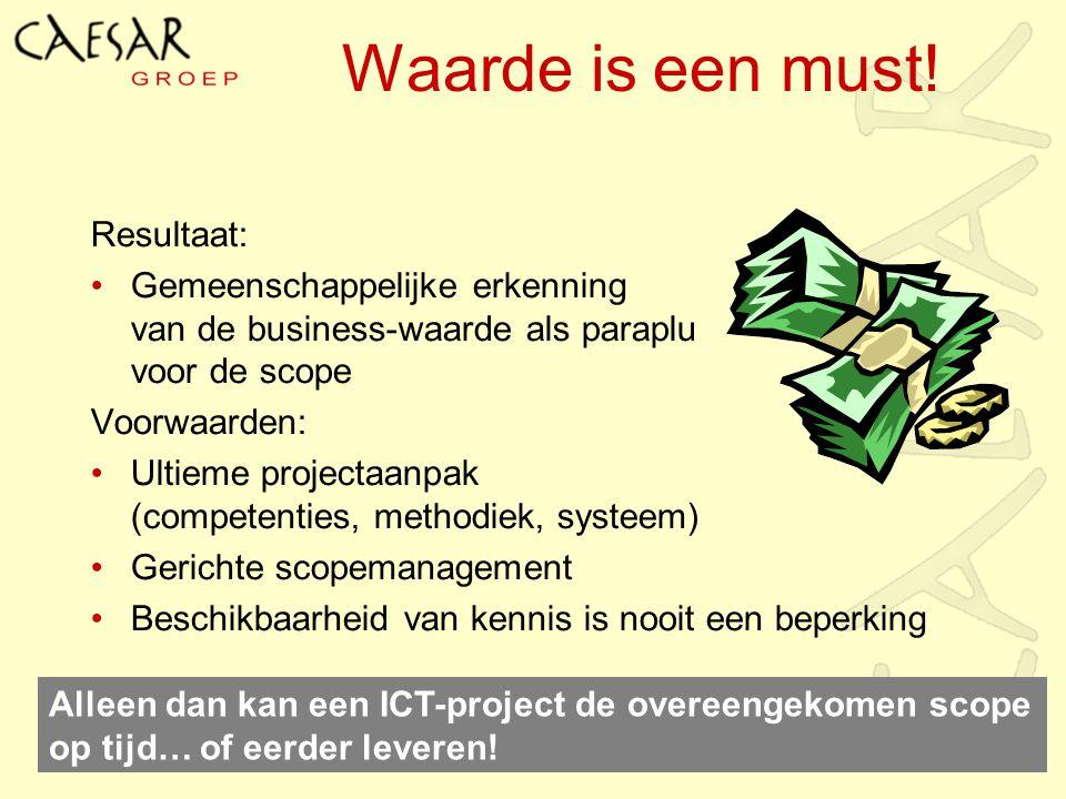 Waarde is een must! Resultaat: Gemeenschappelijke erkenning van de business-waarde als paraplu voor de scope Voorwaarden: Ultieme projectaanpak (compe