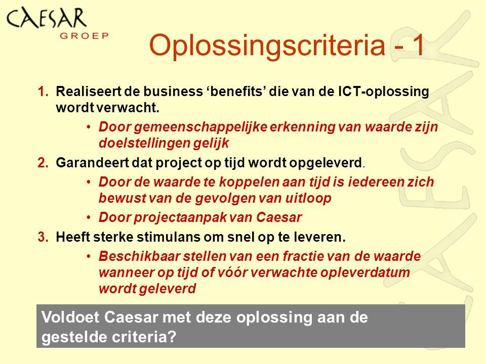 Oplossingscriteria - 1 1.Realiseert de business 'benefits' die van de ICT-oplossing wordt verwacht. Door gemeenschappelijke erkenning van waarde zijn