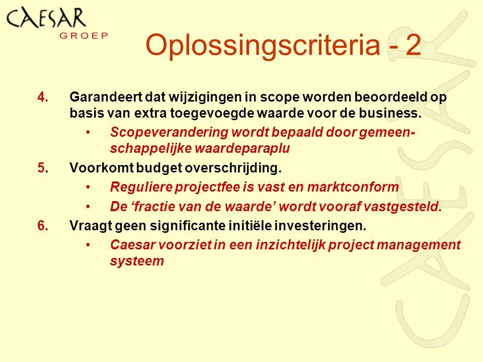 Oplossingscriteria - 2 4.Garandeert dat wijzigingen in scope worden beoordeeld op basis van extra toegevoegde waarde voor de business. Scopeveranderin