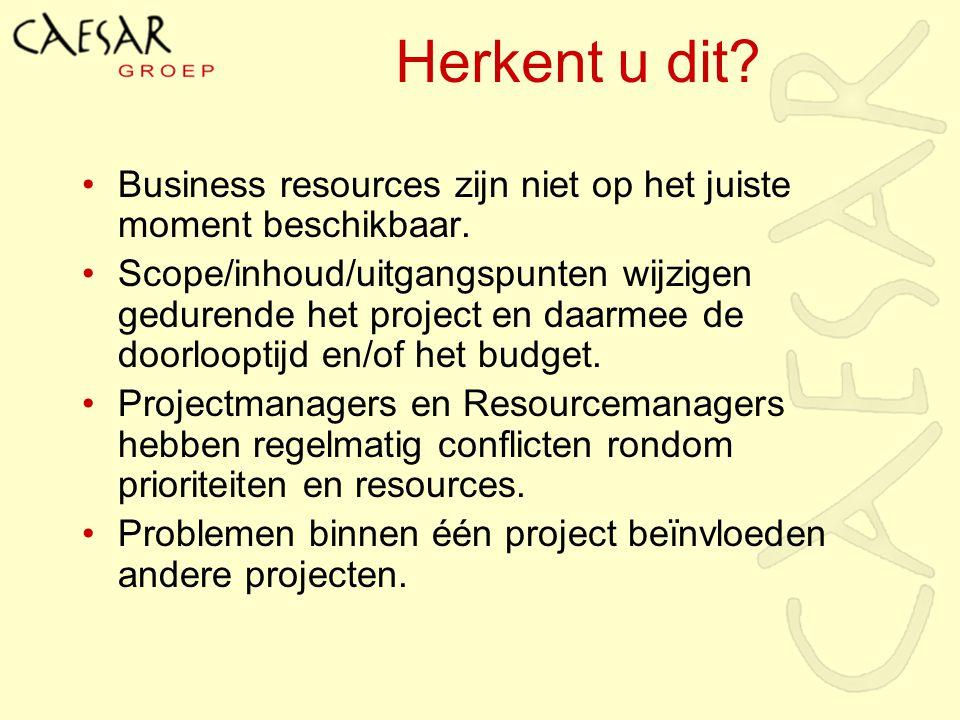 Business resources zijn niet op het juiste moment beschikbaar. Scope/inhoud/uitgangspunten wijzigen gedurende het project en daarmee de doorlooptijd e