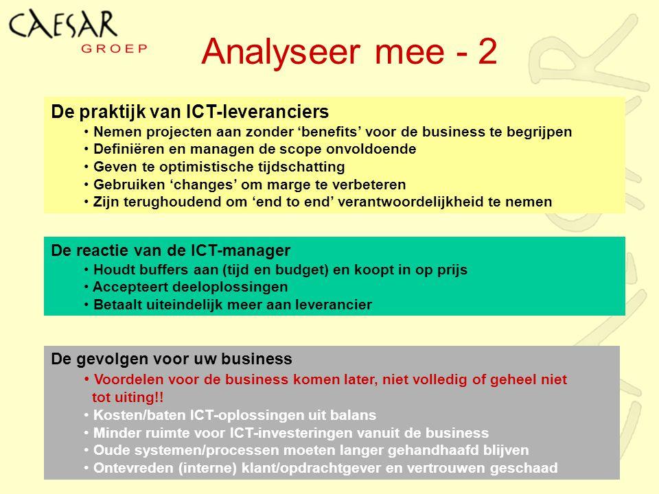 Analyseer mee - 2 De gevolgen voor uw business Voordelen voor de business komen later, niet volledig of geheel niet tot uiting!! Kosten/baten ICT-oplo