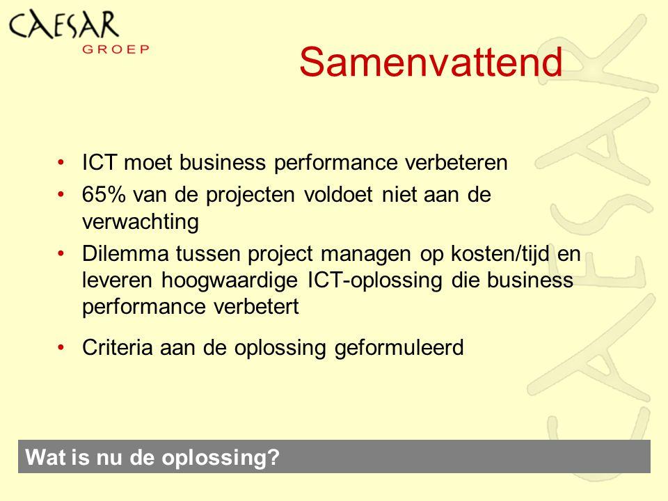Samenvattend ICT moet business performance verbeteren 65% van de projecten voldoet niet aan de verwachting Dilemma tussen project managen op kosten/ti
