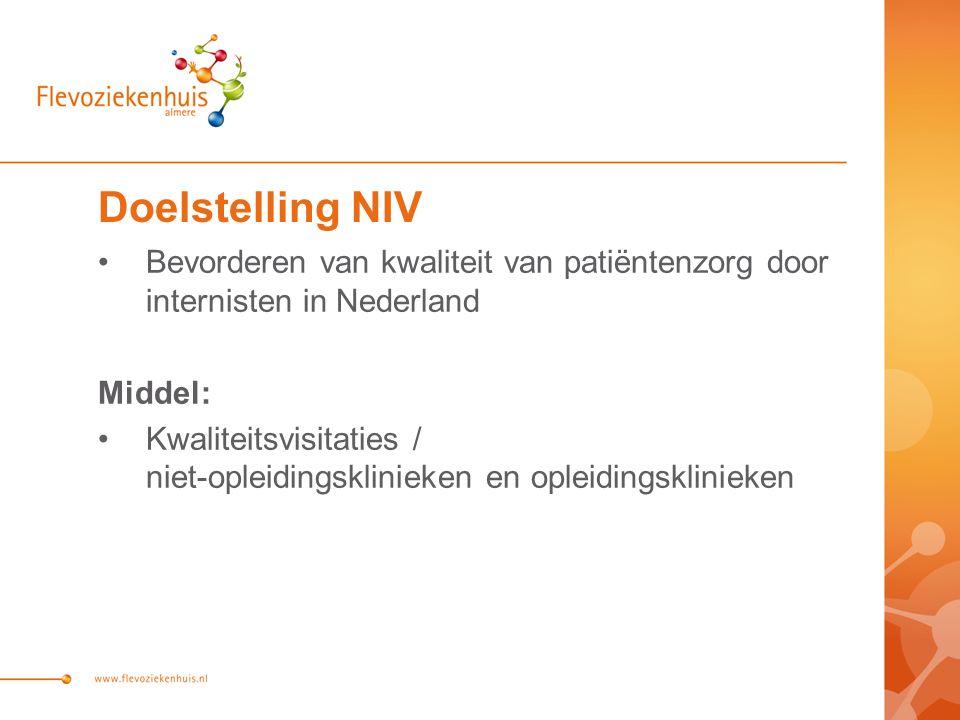 Doelstelling NIV Bevorderen van kwaliteit van patiëntenzorg door internisten in Nederland Middel: Kwaliteitsvisitaties / niet-opleidingsklinieken en opleidingsklinieken
