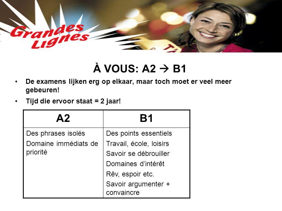 À VOUS: A2  B1 De examens lijken erg op elkaar, maar toch moet er veel meer gebeuren! Tijd die ervoor staat = 2 jaar! A2B1 Des phrases isolés Domaine