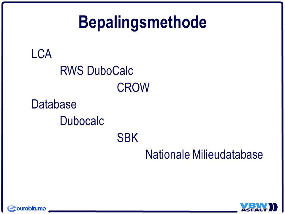 LCA RWS DuboCalc CROW Database Dubocalc SBK Nationale Milieudatabase Bepalingsmethode