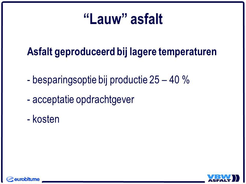 Asfalt geproduceerd bij lagere temperaturen - besparingsoptie bij productie 25 – 40 % - acceptatie opdrachtgever - kosten Lauw asfalt
