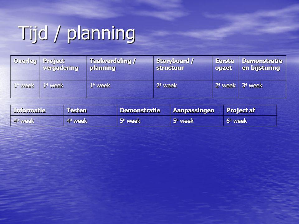 Tijd / planning Overleg Project vergadering Taakverdeling / planning Storyboard / structuur Eerste opzet Demonstratie en bijsturing 1 e week 2 e week