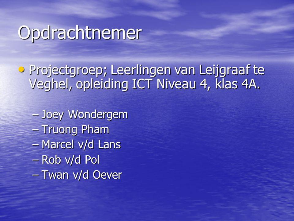 Opdrachtnemer Projectgroep; Leerlingen van Leijgraaf te Veghel, opleiding ICT Niveau 4, klas 4A. Projectgroep; Leerlingen van Leijgraaf te Veghel, opl