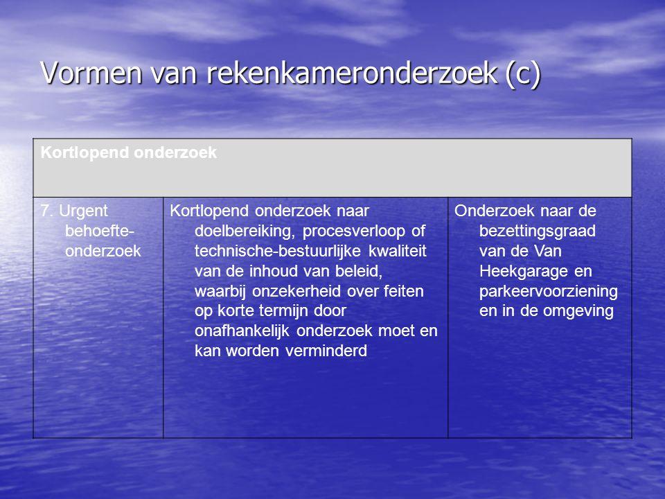 Vormen van rekenkameronderzoek (c) Kortlopend onderzoek 7.