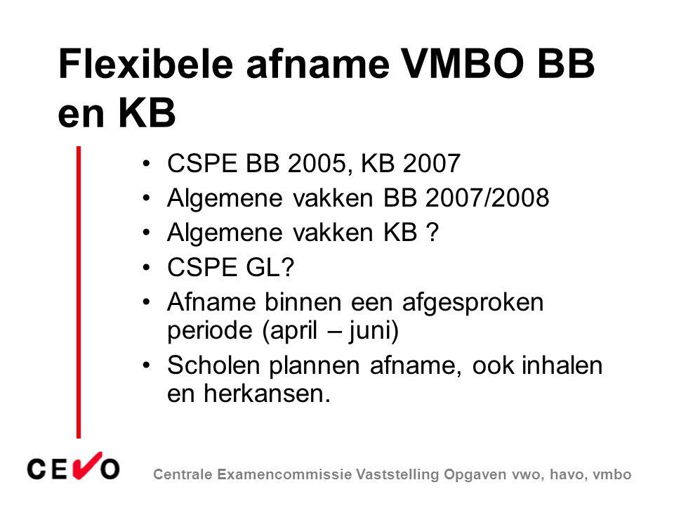 Centrale Examencommissie Vaststelling Opgaven vwo, havo, vmbo Flexibele afname VMBO BB en KB CSPE BB 2005, KB 2007 Algemene vakken BB 2007/2008 Algeme