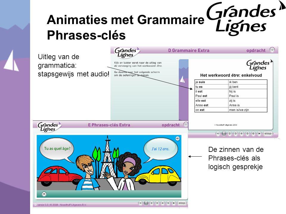 Animaties met Grammaire en Phrases-clés Uitleg van de grammatica: stapsgewijs met audio! De zinnen van de Phrases-clés als logisch gesprekje