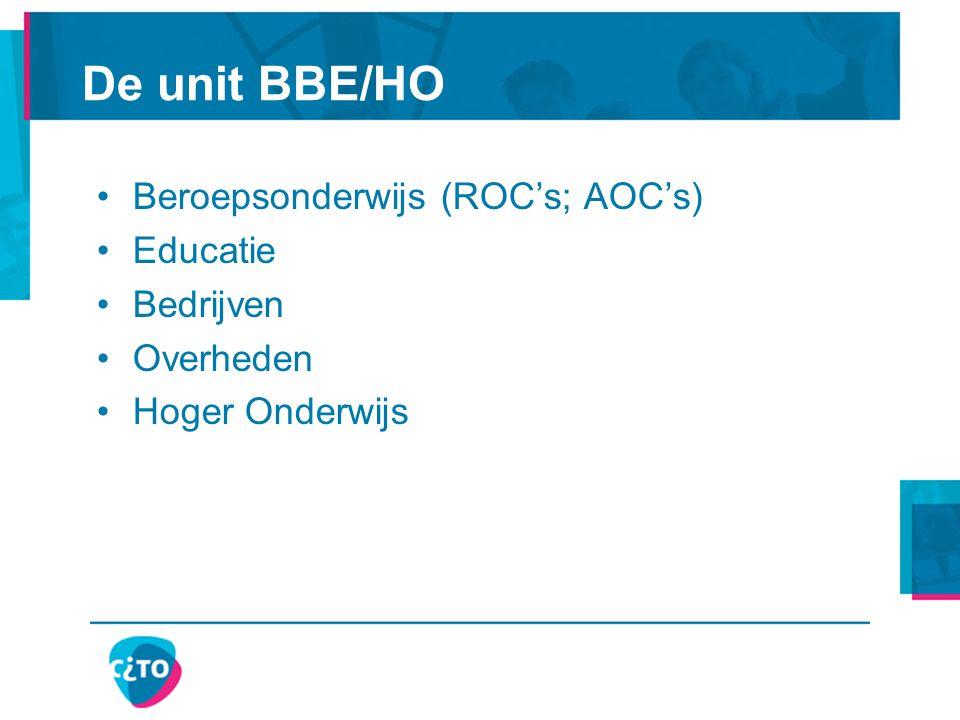Beroepsonderwijs (ROC's; AOC's) Educatie Bedrijven Overheden Hoger Onderwijs De unit BBE/HO