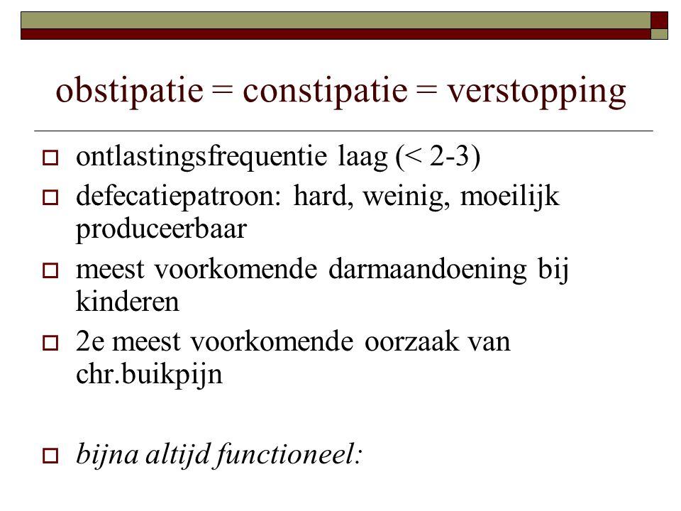 obstipatie = constipatie = verstopping  ontlastingsfrequentie laag (< 2-3)  defecatiepatroon: hard, weinig, moeilijk produceerbaar  meest voorkomen