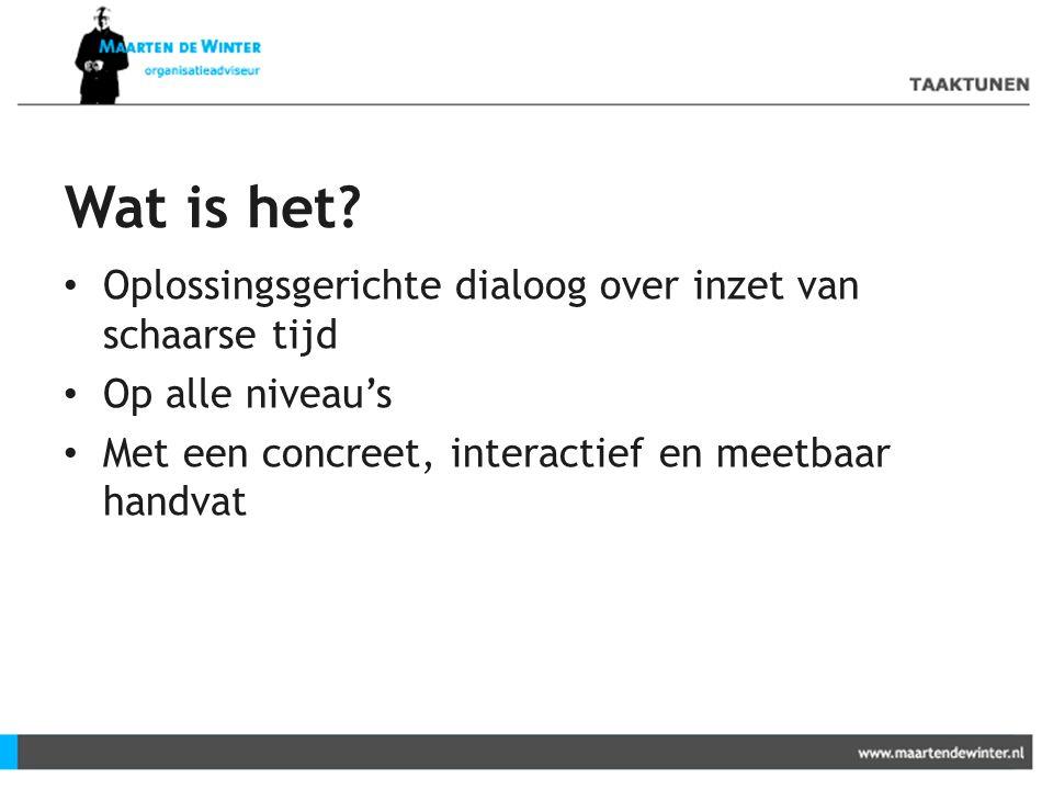 Wat is het? Oplossingsgerichte dialoog over inzet van schaarse tijd Op alle niveau's Met een concreet, interactief en meetbaar handvat