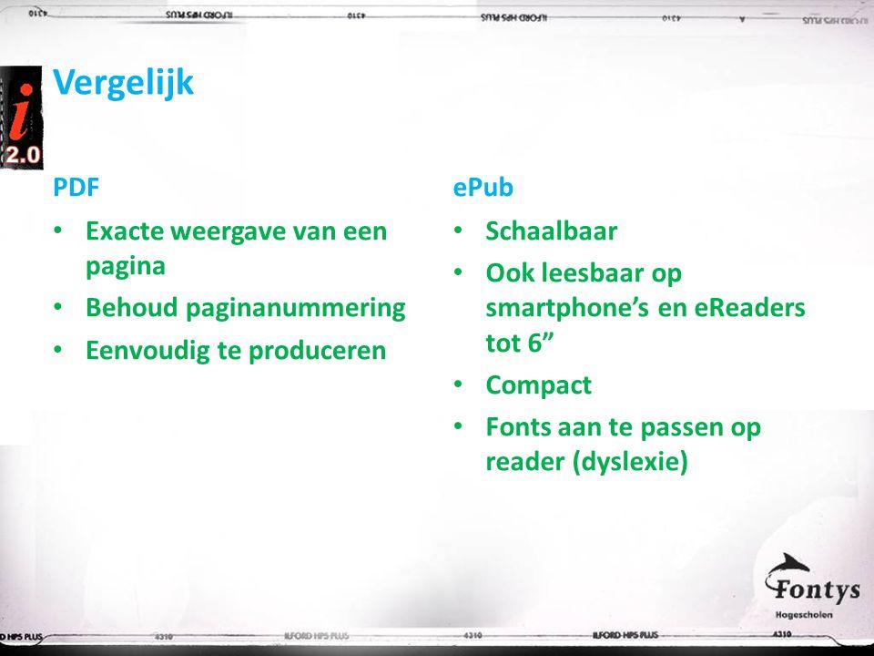 Vergelijk PDF Exacte weergave van een pagina Behoud paginanummering Eenvoudig te produceren ePub Schaalbaar Ook leesbaar op smartphone's en eReaders tot 6 Compact Fonts aan te passen op reader (dyslexie)