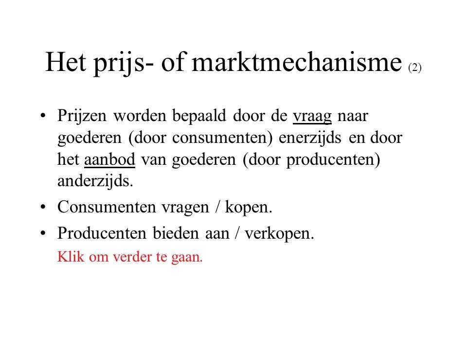 Het prijs- of marktmechanisme (2) Prijzen worden bepaald door de vraag naar goederen (door consumenten) enerzijds en door het aanbod van goederen (doo