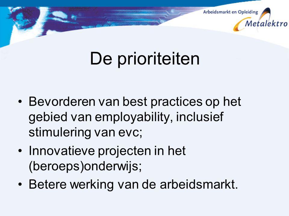 De prioriteiten Bevorderen van best practices op het gebied van employability, inclusief stimulering van evc; Innovatieve projecten in het (beroeps)on