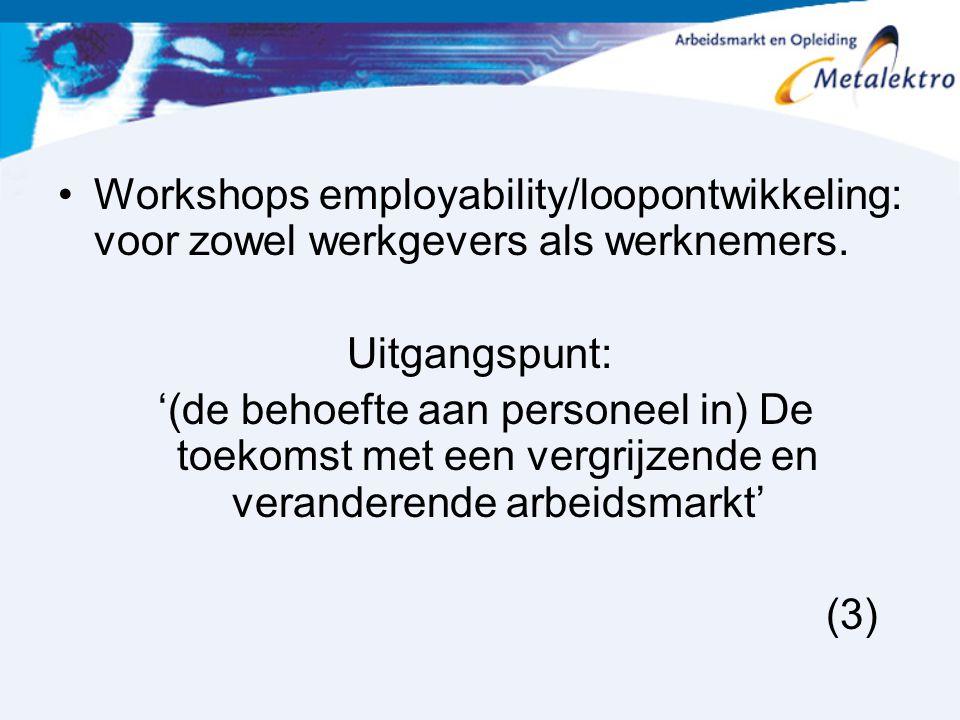 Workshops employability/loopontwikkeling: voor zowel werkgevers als werknemers. Uitgangspunt: '(de behoefte aan personeel in) De toekomst met een verg