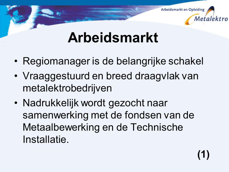 Arbeidsmarkt Regiomanager is de belangrijke schakel Vraaggestuurd en breed draagvlak van metalektrobedrijven Nadrukkelijk wordt gezocht naar samenwerk