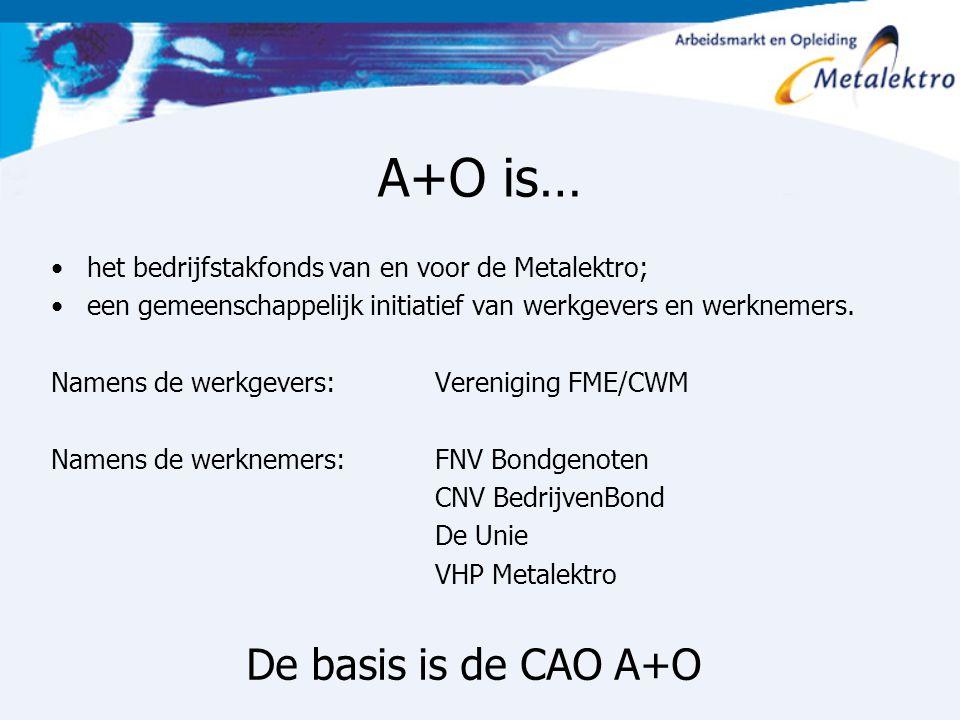 A+O is… het bedrijfstakfonds van en voor de Metalektro; een gemeenschappelijk initiatief van werkgevers en werknemers. Namens de werkgevers: Verenigin
