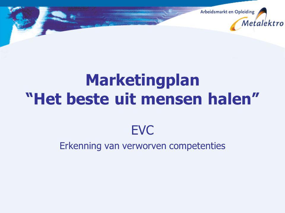 """Marketingplan """"Het beste uit mensen halen"""" EVC Erkenning van verworven competenties"""