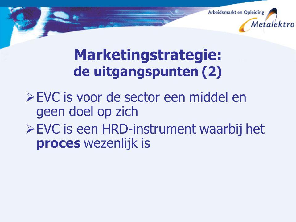 Marketingstrategie: de uitgangspunten (2)  EVC is voor de sector een middel en geen doel op zich  EVC is een HRD-instrument waarbij het proces wezen